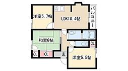 愛知県名古屋市緑区桃山2丁目の賃貸アパートの間取り