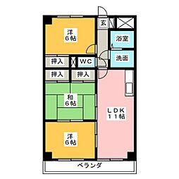 グレースマンション藤[4階]の間取り