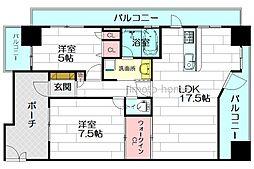 エンゼルソレーヌ江坂[7階]の間取り