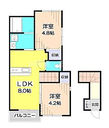 (仮)ふじみ野市北野ハイツ 2階2LDKの間取り