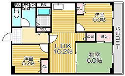 京阪本線 土居駅 徒歩3分の賃貸マンション 4階3DKの間取り
