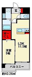 ハイネス若園II 11階1LDKの間取り