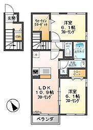 長野県上田市上塩尻の賃貸アパートの間取り