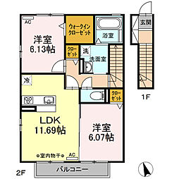 D-Room大井手B[201号室]の間取り