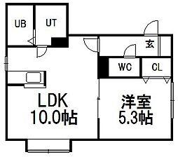 リバーウォーク菊水[4階]の間取り