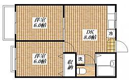 カギナカハイツB[2階]の間取り