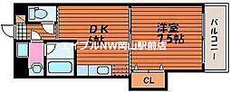 ピュアベルデ医大南 4階1DKの間取り