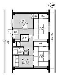 ビレッジハウス草部6号棟1階Fの間取り画像
