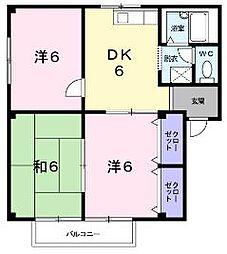 広島県福山市久松台2丁目の賃貸アパートの間取り