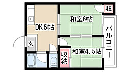 愛知県名古屋市緑区六田2丁目の賃貸アパートの間取り