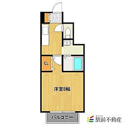 JR鹿児島本線 西牟田駅 徒歩22分の賃貸アパート 1階1Kの間取り