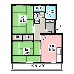 秋山ハイツB棟[4階]の間取り