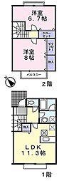 [テラスハウス] 東京都町田市小山ヶ丘3丁目 の賃貸【東京都 / 町田市】の間取り
