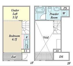 名古屋市営桜通線 中村区役所駅 徒歩5分の賃貸アパート 1階ワンルームの間取り