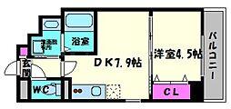 ラカーサ京橋[4階]の間取り
