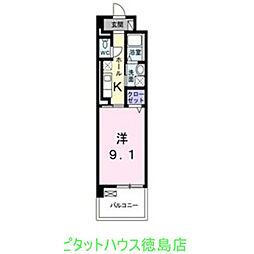 徳島県徳島市山城西2の賃貸マンションの間取り