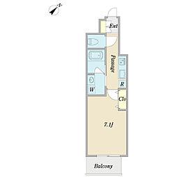 ネオ メディトピア 5階1Kの間取り