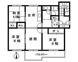 箕面粟生第二住宅[3階]の間取り
