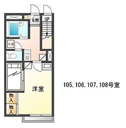 兵庫県姫路市手柄の賃貸アパートの間取り