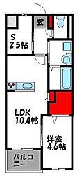 福岡市地下鉄空港線 福岡空港駅 バス15分 下志免下車 徒歩4分の賃貸マンション 1階1SLDKの間取り