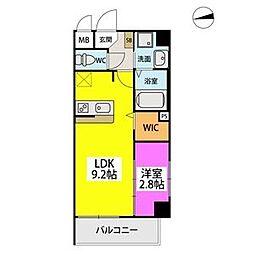 シエル姪浜駅南 4階1LDKの間取り