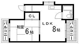 兵庫県神戸市長田区四番町1丁目の賃貸マンションの間取り