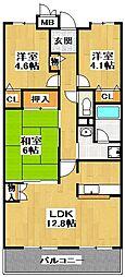 大阪府堺市東区日置荘西町1丁の賃貸マンションの間取り