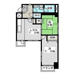 ライオンズマンション二条城東[4階]の間取り