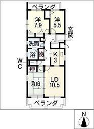 三渓ヒルズ D棟[3階]の間取り