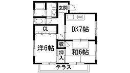 兵庫県宝塚市山本台2丁目の賃貸アパートの間取り