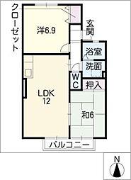 プレミール・ソシアA棟[2階]の間取り