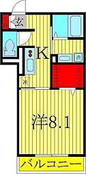 千葉県柏市中央2丁目の賃貸アパートの間取り