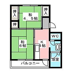 ビレッジハウス杉焼2[1階]の間取り