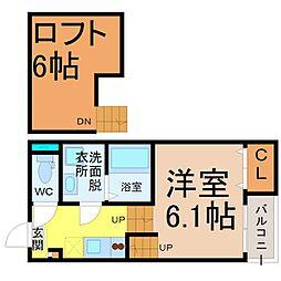 愛知県名古屋市中村区中島町1の賃貸アパートの間取り