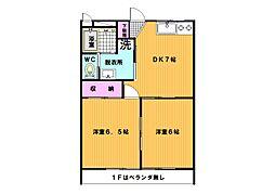 エクレールMINUMA 1階2DKの間取り
