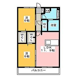 Recente和田 A[3階]の間取り