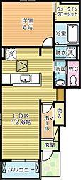福岡県北九州市小倉南区横代北町5丁目の賃貸アパートの間取り