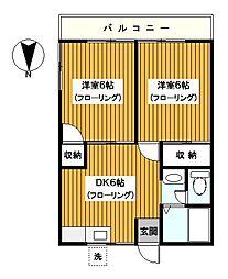 神奈川県横浜市鶴見区栄町通1丁目の賃貸アパートの間取り