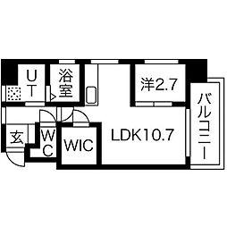 プリンシピオ赤坂 4階1LDKの間取り