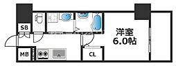 エスリード天王寺ブランシェ 5階1Kの間取り