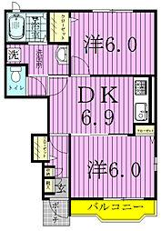 千葉県野田市中野台鹿島町の賃貸アパートの間取り