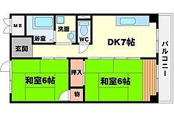 第1マンション寺直[5階]の間取り