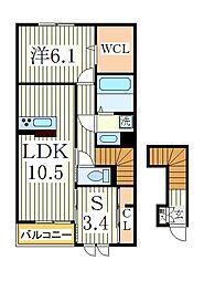 サイドガーデン南増尾B棟[2階]の間取り