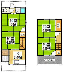 [テラスハウス] 大阪府大東市大東町 の賃貸【/】の間取り