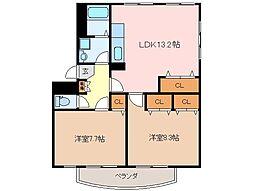 三重県松阪市大津町の賃貸マンションの間取り