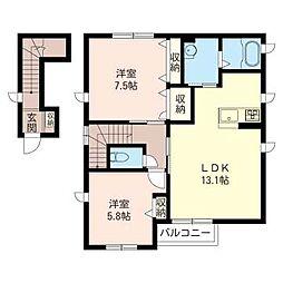 楓ハウス[2階]の間取り