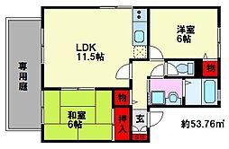 福岡県福岡市南区皿山1丁目の賃貸アパートの間取り