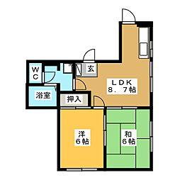 ユーハイツ[1階]の間取り