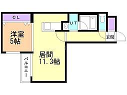 AYA residence 3階1LDKの間取り