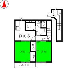 ビラ・デルリコB[2階]の間取り